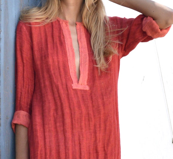 pure shirtdress maxi tunic linen EMMA Unique red Scarlet qOUnfX