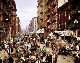 New York City - Mulberry Street - 1900 - Photo - Print - Manhattan - Little Italy - Italian Neighborhood - Photograph - Vintage - NYC