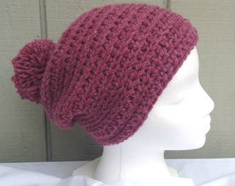Crochet pompom hat - Wool blend rose pink hat - Chunky crochet beanie - PomPom beanie - Womens wool mix bobble hat - Gift for women