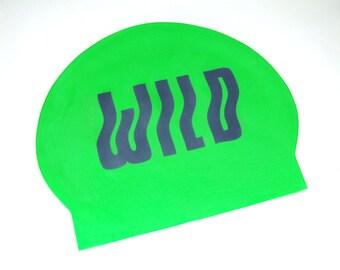 WILD SWIMMING HAT // Outdoor Swimming Cap // Neon Green