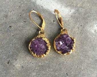 Amethyst Druzy earrings, druzy jewelry, February Birthstone, Boho wedding, Boho Jewelry, Raw Amethyst, Birthstone Jewerly