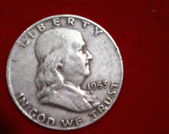"Vintage Silver Coin Half Dollar ""1953"" Liberty United States Of America,( 2 Coins Available)"