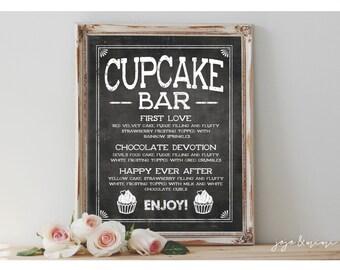 Custom 'CUPCAKE MENU' Printable Sign Chalkboard Printable Dessert Table Cupcake Menu Sign Wedding Any Event Size Options
