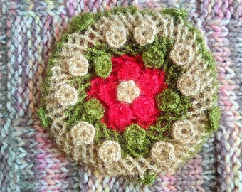 Crocheted Green, Gold and Red Snood and Beret with Flowers, Hairnet, 1930s/1940s style