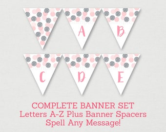 Pink & Silver Bridal Shower Banner / Glitter Bridal Shower / Glitter Dots / Confetti / Miss To MRS / Letters A-Z / INSTANT DOWNLOAD B111