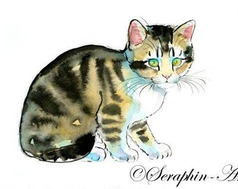 Little Kitten Original Watercolor Painting