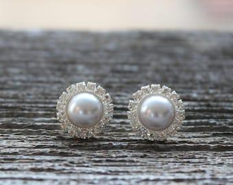 Bridesmaid Earrings, Pearl Earrings, Rhinestone Earrings, Silver Pearl Wedding Jewelry, Silver Pearl Bridal Jewelry, Silver Bridesmaid