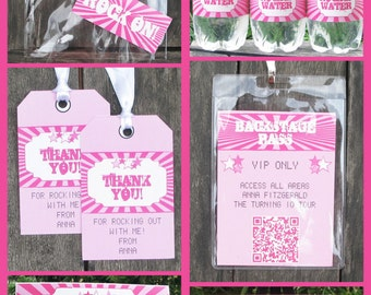 Rock Star Party Invitations & Decorations - full Printable Package - Pink - INSTANT DOWNLOAD with EDITABLE text - you personalize at home