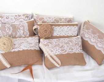 burlap lace purses-burlap clutch -bridesmaid clutch -wristlet -Bridesmaid Gift /set of 7-mix design