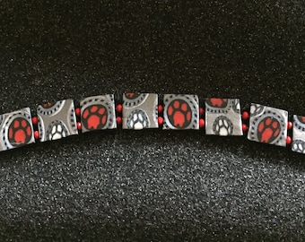 Silver, Red & Black Paw Print Tile Bracelet