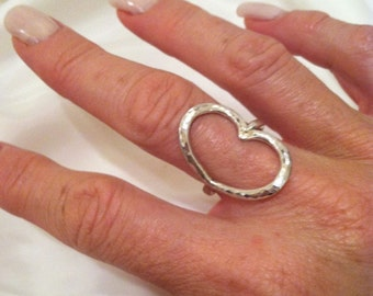 Sterling Silver Hammered Heart Ring - Valentine
