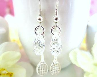 Sterling silver tennis racket Swarovski Crystal earrings, high school badminton racket silver crystal, tennis team racket dangle earrings