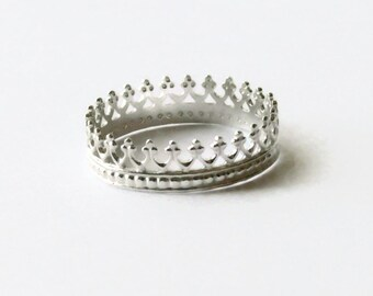 Silver Crown ring Sterling silver ring princess ring Sterling Silver stacking ring stackable ring Etsy jewelry