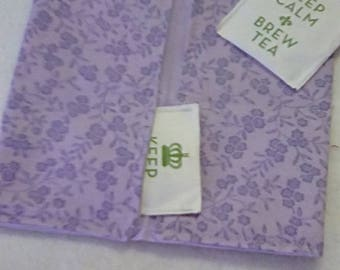 Tea Bag Wallet, LAVENDER FLOWERS, Four Pockets, Handmade, FREE Shipping USa, Holds Tea & Sweetener - Also Travel Jewelry Wallet