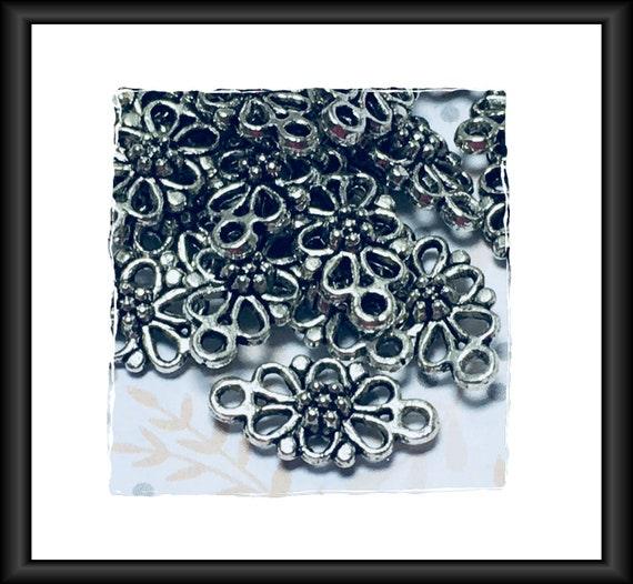 Antique Silver Oval Flower Links 16 x 8 mm 6 Links