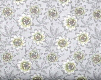Gray and Green Floral on a Light Gray Background 100% Cotton Quilt Fabric for Sale, Lewis & Irene's The Botanist Collection, LEIA124-2