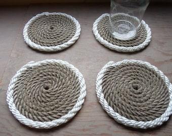 Set of 4 Rope Coasters Nautical Decor Natural with White Trim Beautiful beach island decor