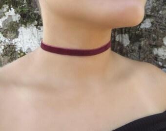 Thin Velvet Choker, Delicate Velvet Choker, Choker Necklace, Bordeaux Velvet  Necklace, Bohemian Choker, Boho Jewelry, Women Trendy Jewelry