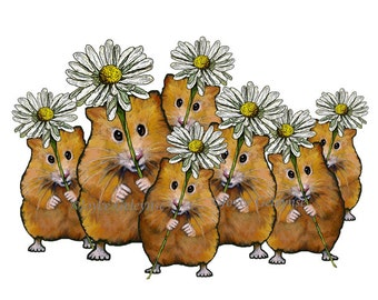 Printable Clip Art, Large Crowd of Cute Hamsters Holding Daisy Flowers, png and jpg files,Commercial Use, Instant Download, Original Art