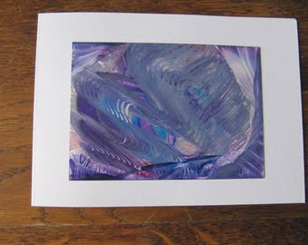 Grey scratches original Encaustic Painting greeting card