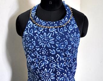 flat 25% off Indigo cotton Boho dress women halter dress with beads