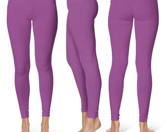Plum Leggings, Workout Yoga Pants, Mid Rise Waist Purple Stretch Pants for Women