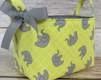 Storage Fabric Organizer Bin Container Basket Diaper Caddy - Gray Elephants on Yellow Fabric - Baby Nursery Room Decor - Baby Shower Gift