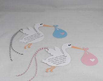 12 Stork Candle Prayer Tags
