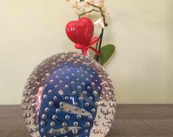 Sulphide paperweight blown glass bubbles suspended blue