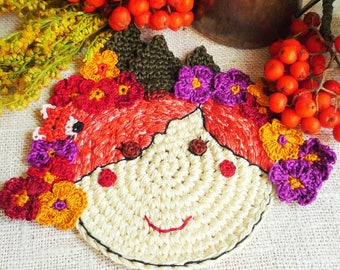 Autumn Fairy Coaster - Crochet Flower Coaster - Fairy Coasters - Fairy with Fox - Autumn Fairy Mug Rug - Gift for Mom - Autumn Table Decor