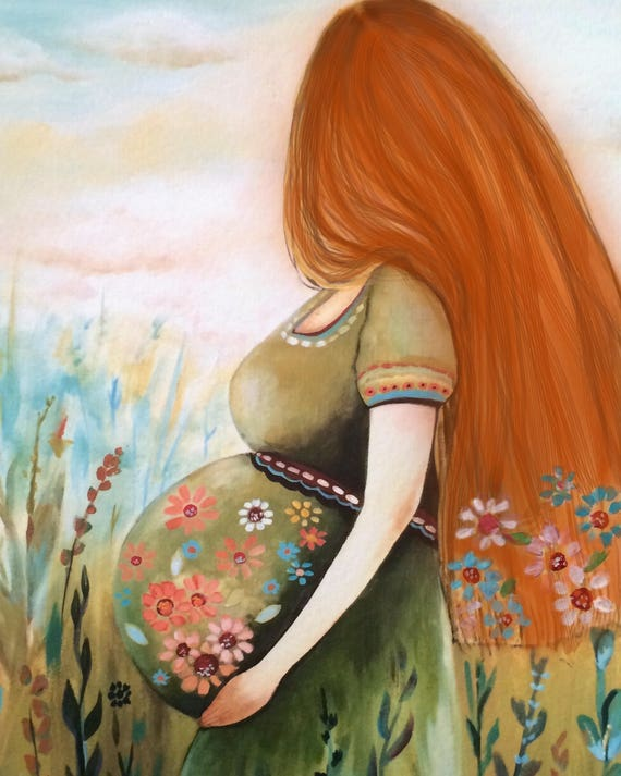 Pregnant woman with red hair  art print