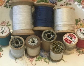 Lot of 10 vintage wooden spools, Sewing thread wood spools, Assorted