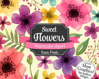 Sweet Flowers clipart- Watercolor clip art - Clipart for Personal and commercial use