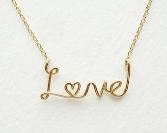 Gold Love Necklace. 14k Gold Fill Cursive Script Love Heart Necklace. Gift Under 100