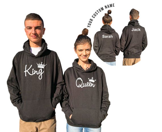 KING QUEEN couple hoodies, personalized Back custom Names, Comes in a pair, Anniversary gift Matching