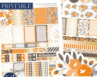 Fall printable two pack stickers for MAMBI Happy Planner. Floral autumn kit.