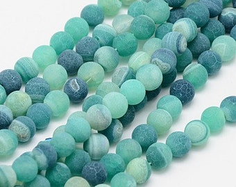 50 Pcs - Matte Finish Agate Gemstone Beads in Shades of Sea Green - 6mm