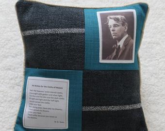 Literary Ireland Cushion ~ W.B.Yeats 'He Wishes for the Cloths of Heaven' ~ Unusual handmade gift celebrating Irish poetry ~