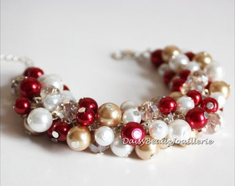 Red Pearl Cluster Bracelet Champagne Red White Bracelet Red and Champagne Bracelet Bridesmaid Bracelet Bridesmaid Gift Christmas Gift