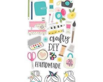 "Crafty Girl Chipboard Stickers 6X12"" - Carpe Diem"