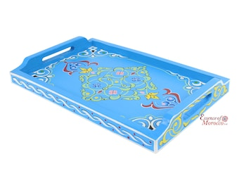 Moroccan Serving Tray Wood Handmade Hand painted Light Blue Limited Edition (Ref. SWT4)
