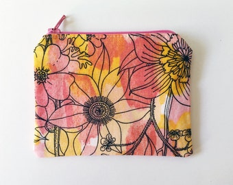 Pink Change Purse, Floral Zipper Pouch, Small Women's Wallet, Painterly Accessories, Floral Coin Purse, Gift for Girls, Small Zippered Pouch