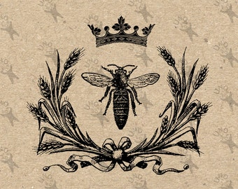 Vintage Collage illustration Queen Bee Crown Honeybee Instant Download Digital printable picture clipart graphic transfer burlap HQ300dpi