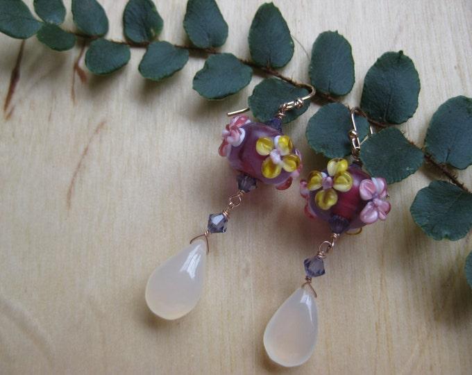 Insouciant Studios Pink Spring Earrings Floral Lampwork