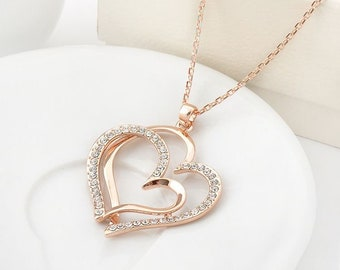 Rose Gold Filled Double Heart Pendant Necklace With Swarovski Crystal