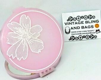 Vintage 1980s hand mirror, magnifying mirror, pink handbag mirror, pink vintage mirror, pink 1980s hand mirror, magnifying pink 1980s mirror