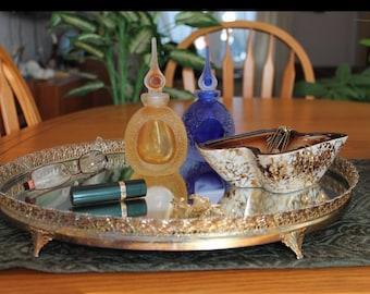 Large Vintage Gold Metal Filigree Vanity Tray  - Large Oval Footed Mirrored Vanity Tray - Vintage Mirrored Vanity Tray