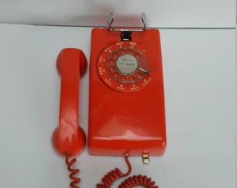 Vintage Orange Wall Telephone ITT Rotary Dial Phone
