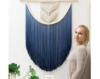 "Extra Large Macrame Wall Hanging - Woven Tapestry - Color Macrame Wall Art - Wall Decor - Dip-dye Fiber Art - Nursery Decor - ""EVA"""