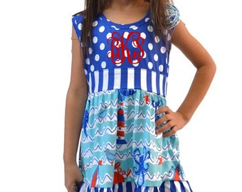 Girls monogrammed ruffle tunic set